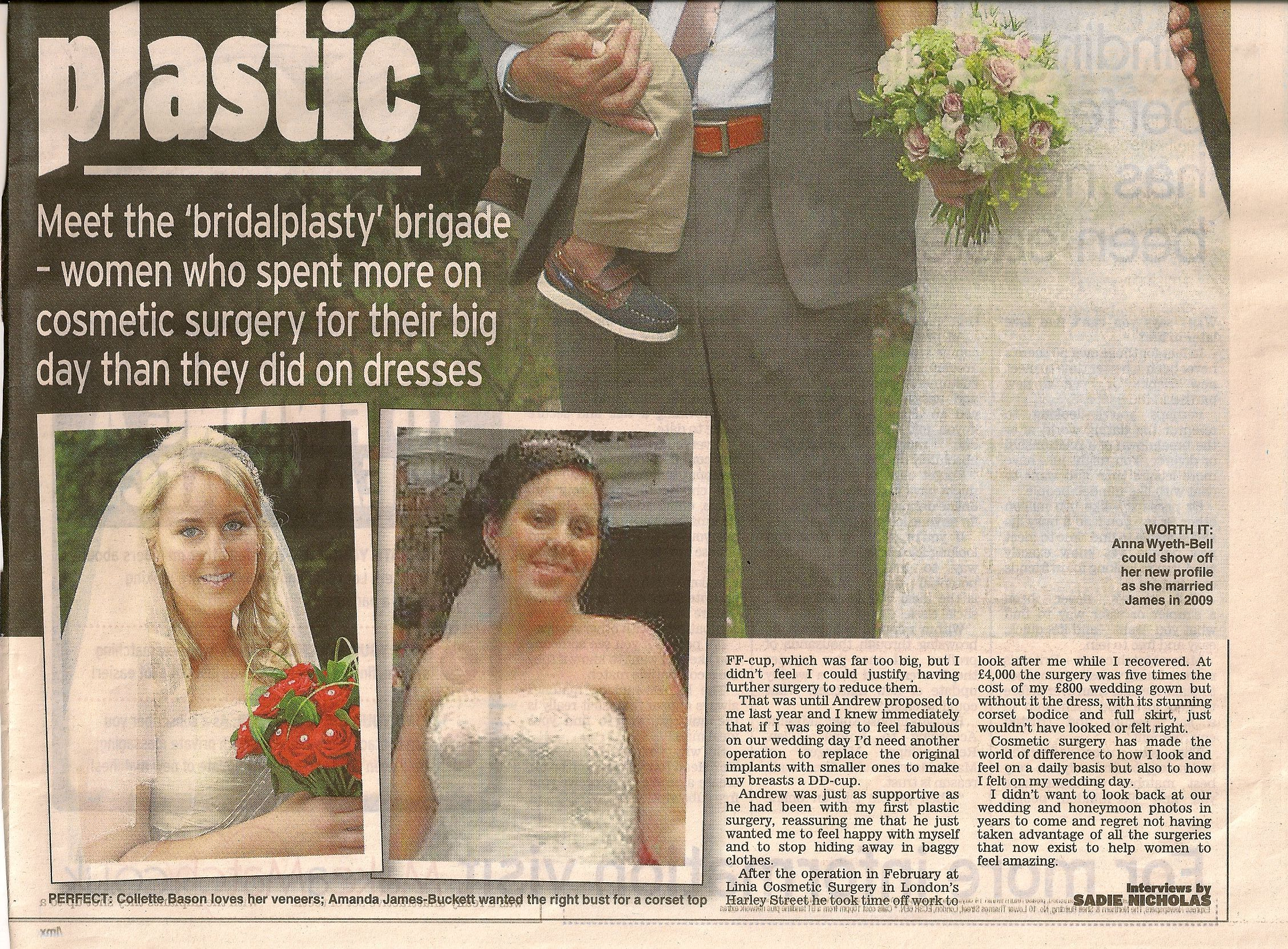 And the Bride wore plastic. LINIA in the Daily Express