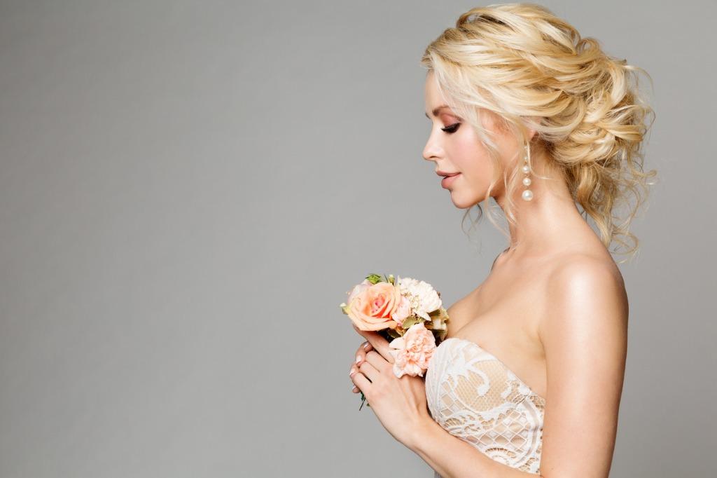 blonde woman wedding side profile