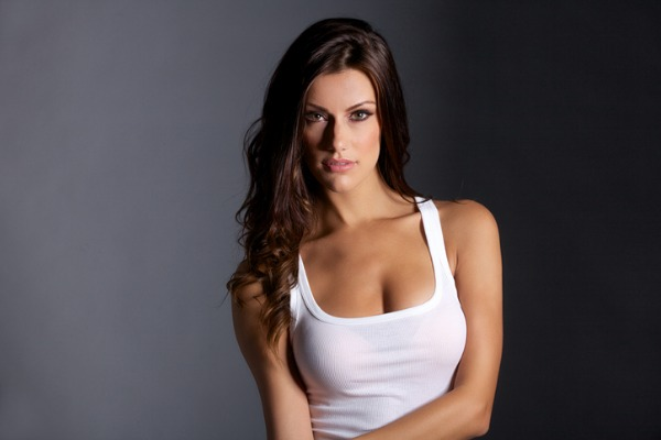 woman after breast uplift white top